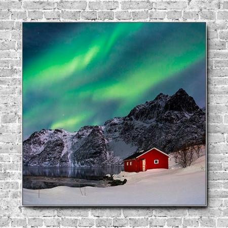 Stoffklang Akustikbild Quadrat Wand Polarlicht Haus