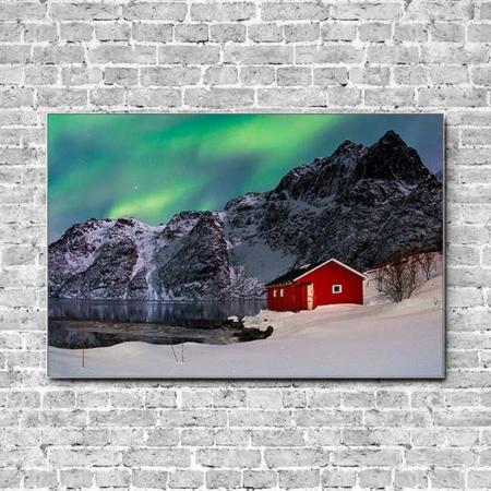 Stoffklang Akustikbild Querformat Wand Polarlicht Haus