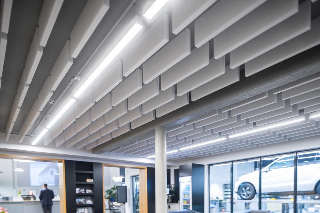 Baffel Akustikdecke Stoffklang Industrie