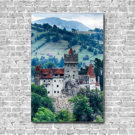Stoffklang Akustikbild Hochformat Wand Schloss Bran