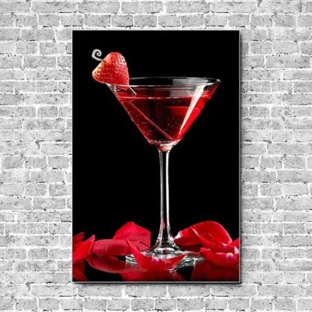 Akustikbild Cocktail Erdbeere Hochformat