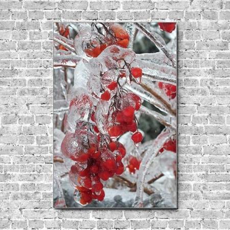 Stoffklang Akustikbild Hochformat Wand Frost auf Beeren