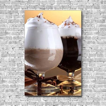 Stoffklang Akustikbild Hochformat Wand Kaffee Eiskaffee