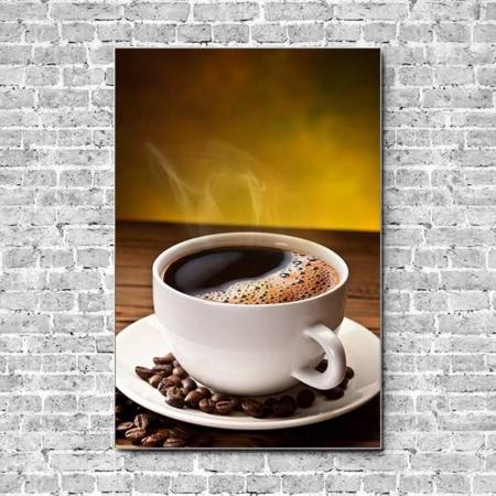 Stoffklang Akustikbild Hochformat Wand Kaffee Tasse