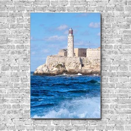 Stoffklang Akustikbild Hochformat Wand Meer Festung Leuchtturm