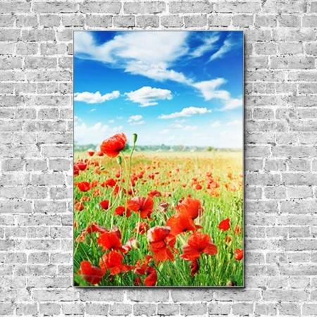 Stoffklang Akustikbild Hochformat Wand Mohn Feld blauer Himmel