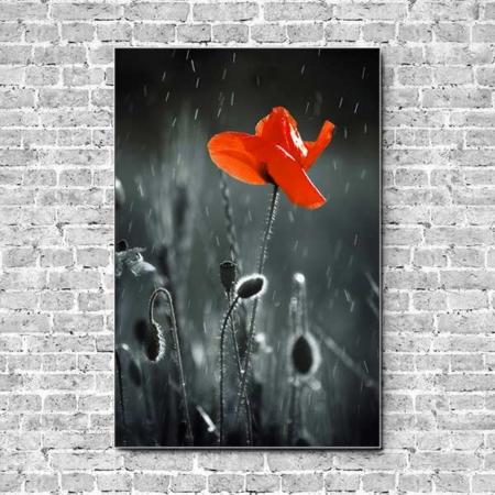 Stoffklang Akustikbild Hochformat Wand Mohn einzelne Blüte