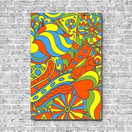 Stoffklang Akustikbild Hochformat Wand Pop Art