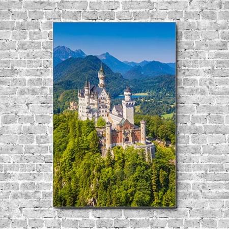 Stoffklang Akustikbild Hochformat Wand Schloss Neuschwanstein
