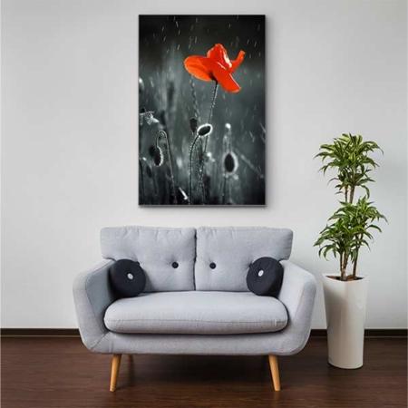 Stoffklang Akustikbild Hochformat Zimmer Mohn einzelne Blüte