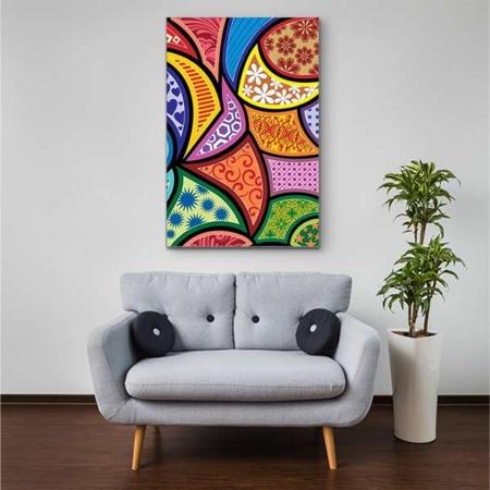 Stoffklang Akustikbild Hochformat Zimmer abstrakte Muster