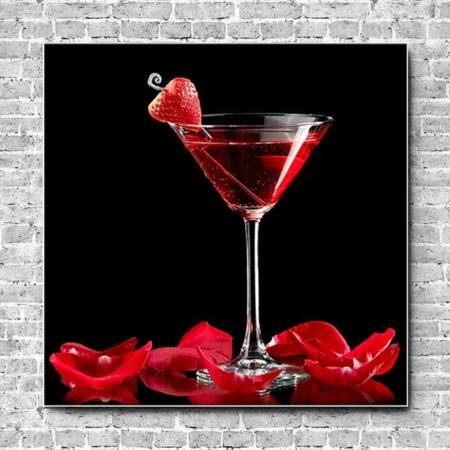 Akustikbild Cocktail Erdbeere Quadrat