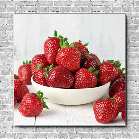Akustikbild Fruchtschale Erdbeeren Quadrat