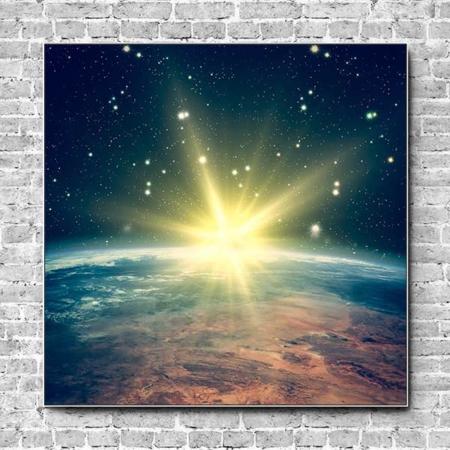 Stoffklang Akustikbild Quadrat Wand Erdkugel Sonne