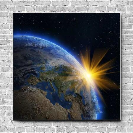 Stoffklang Akustikbild Quadrat Wand Erdkugel Sonnenstrahlen