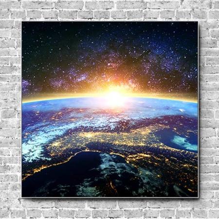 Akustikbild Erdkugel und Sterne Quadrat