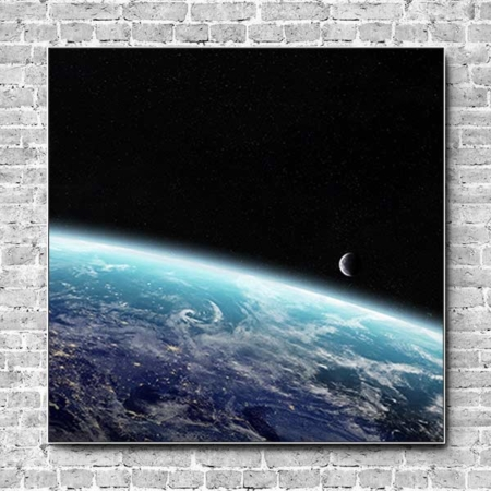 Stoffklang Akustikbild Quadrat Wand Erdkugel mit Halbmond