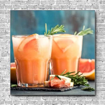 Stoffklang Akustikbild Quadrat Wand Grapefruit-Rosmarin-Gin