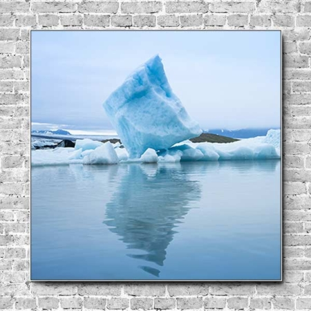 Stoffklang Akustikbild Quadrat Wand Island Eisblock