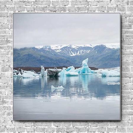 Stoffklang Akustikbild Quadrat Wand Island Meer Eis Berge