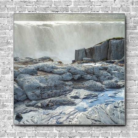 Stoffklang Akustikbild Quadrat Wand Island Wasserfall