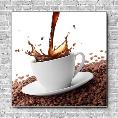Akustikbild Kaffee Spritzer Quadrat