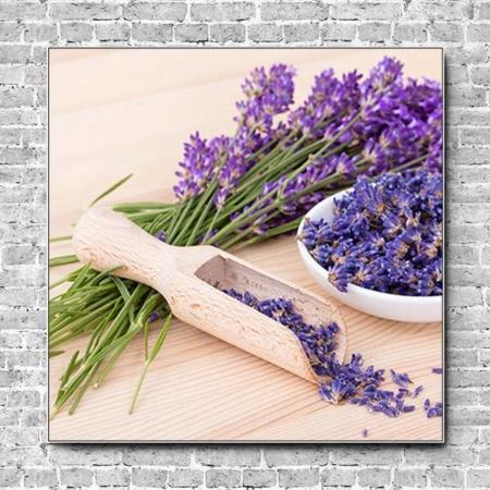 Stoffklang Akustikbild Quadrat Wand Lavendel Blüten in Schüssel