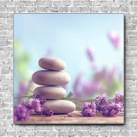 Stoffklang Akustikbild Quadrat Wand Lavendel Steinturm