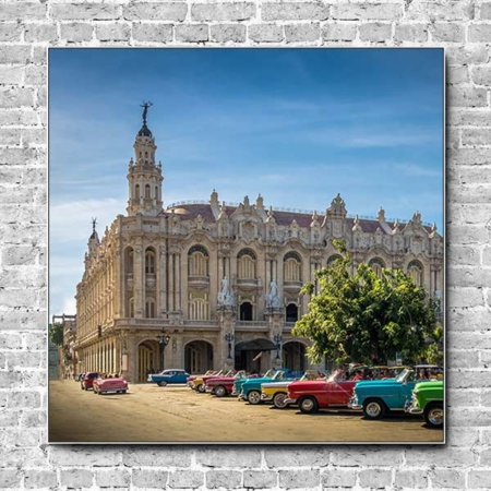 Stoffklang Akustikbild Quadrat Wand Theater Havana