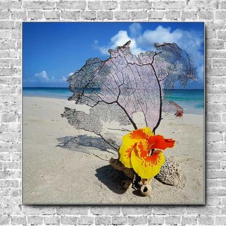 Stoffklang Akustikbild Quadrat Wand exotische Blume am Strand