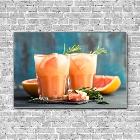 Stoffklang Akustikbild Querformat Wand Cocktail Grapefruit-Rosmarin-Gin