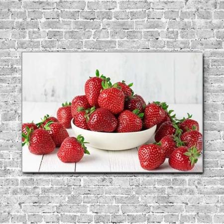 Stoffklang Akustikbild Querformat Wand Erdbeeren