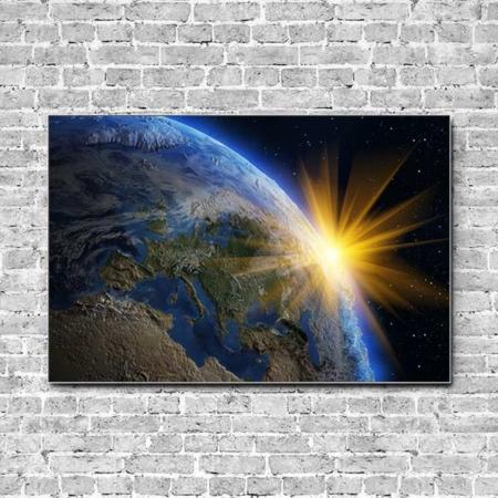 Stoffklang Akustikbild Querformat Wand Erdkugel Sonnenstrahlen