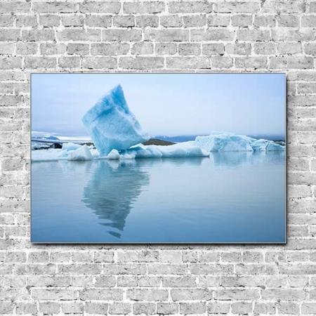 Stoffklang Akustikbild Querformat Wand Island Eisblock