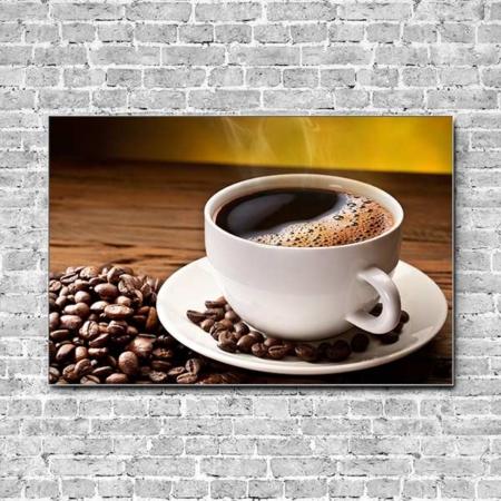 Stoffklang Akustikbild Querformat Wand Kaffee Tasse