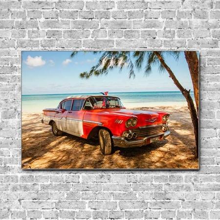 Stoffklang Akustikbild Querformat Wand Cuba Taxi am Strand