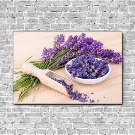 Akustikbild Lavendelblüten in Schale Querformat