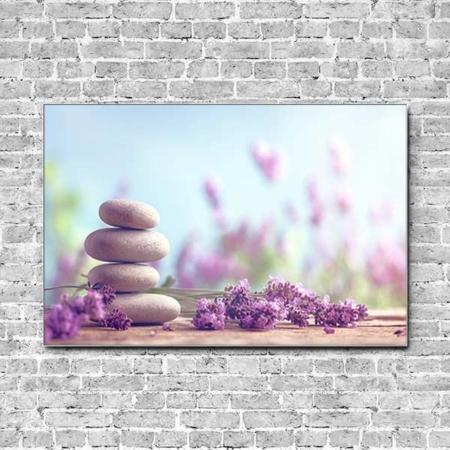 Stoffklang Akustikbild Querformat Wand Lavendel Steinturm