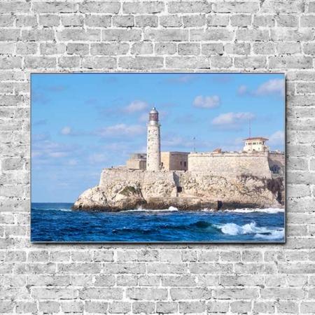 Stoffklang Akustikbild Querformat Wand Meer Festung Leuchtturm