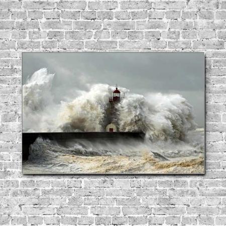 Stoffklang Akustikbild Querformat Wand Meer Sturm Wellen Leuchtturm