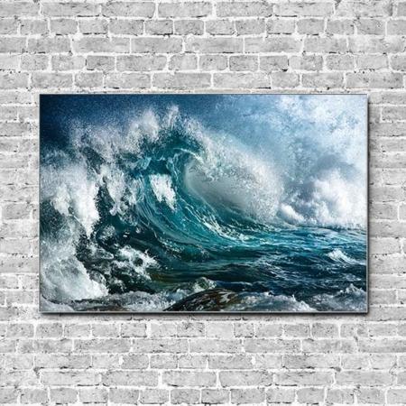 Stoffklang Akustikbild Querformat Wand Meer hohe Welle