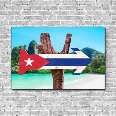 Stoffklang Akustikbild Querformat Wand Schild Cuba