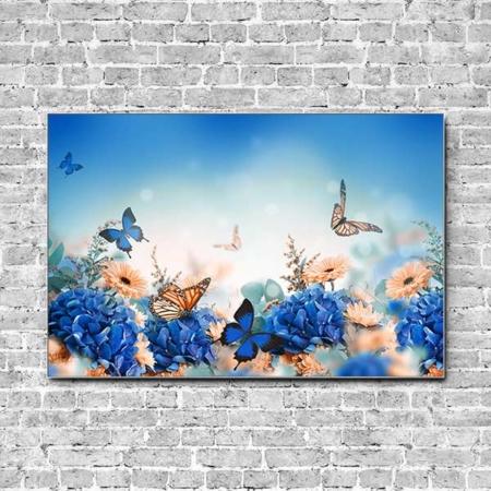 Stoffklang Akustikbild Querformat Wand Schmetterling auf blauer Hortensie