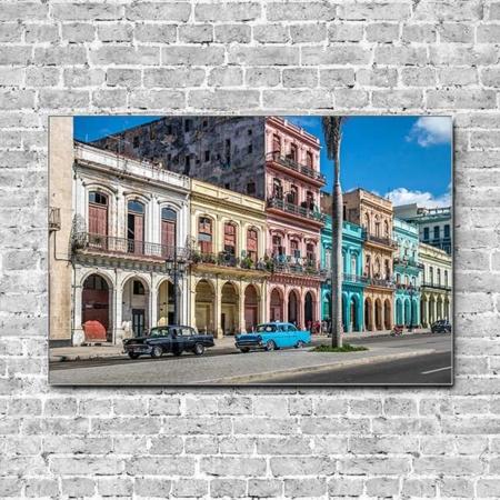 Stoffklang Akustikbild Querformat Wand bunte Fassaden Havana