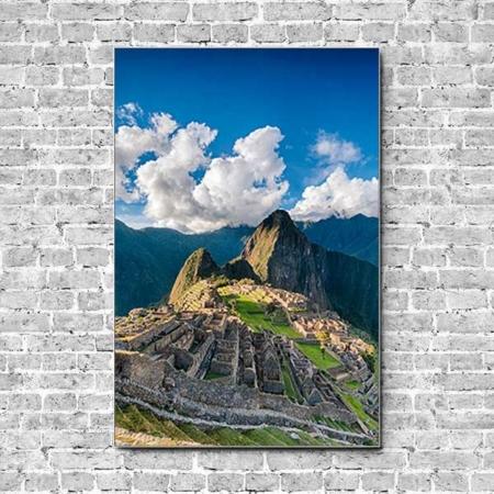Stoffklang Akustikbild Hochformat Wand Weltwunder Machu Pichu in Peru