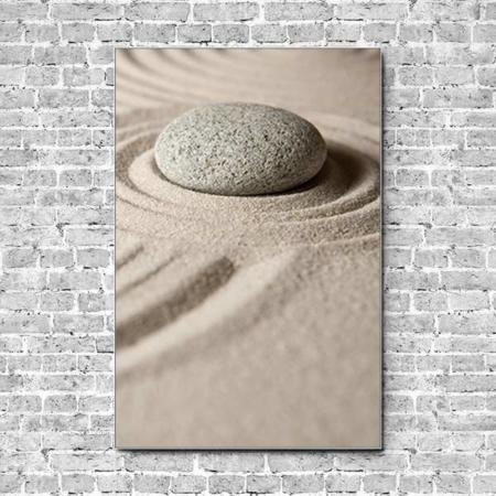 Stoffklang Akustikbild Hochformat Wand Zen Stein im Sand