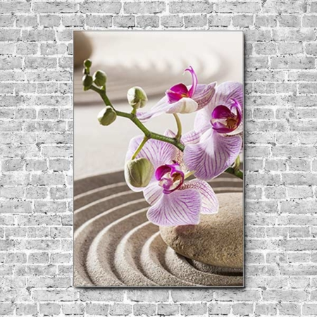 Stoffklang Akustikbild Hochformat Wand Zen Stein im Sand Orchidee