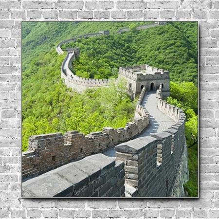 Stoffklang Akustikbild Quadrat Wand Weltwunder Chinesische Mauer