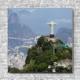 Stoffklang Akustikbild Quadrat Wand Weltwunder Erlöserstatue in Rio