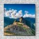 Stoffklang Akustikbild Quadrat Wand Weltwunder Machu Pichu in Peru